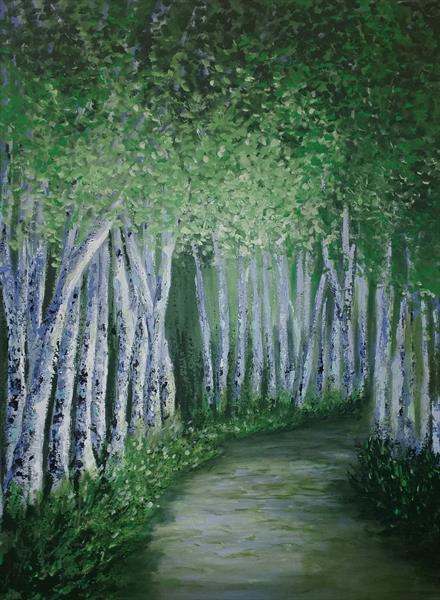 Birches _ Palette Knives Painting by Danijela  Dan