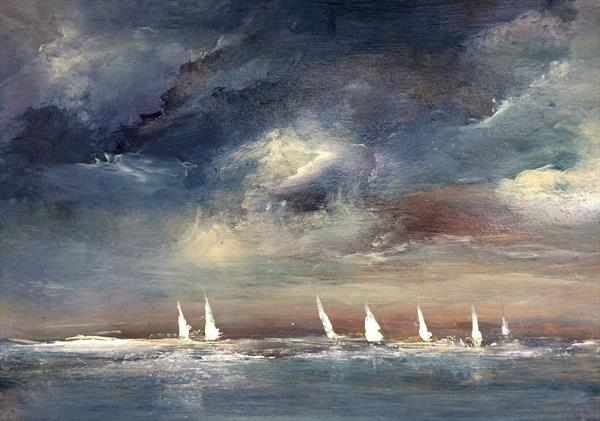 Dark Skies Sombre And Lonely VIII Impressionist Seascape Oil On Card  by Maxine Martin