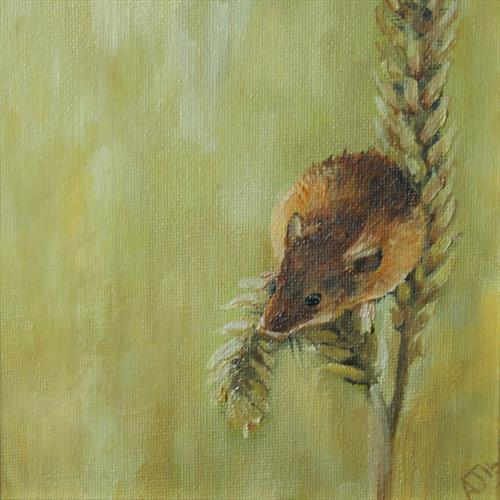 Mouse on Barley Vol 2, Framed Oil Paintings (2016) by Alex Jabore