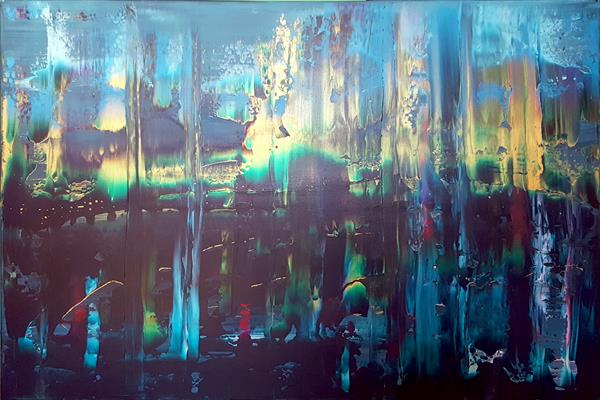 Magic of sleepless night - large blue abstract by Ivana Olbricht