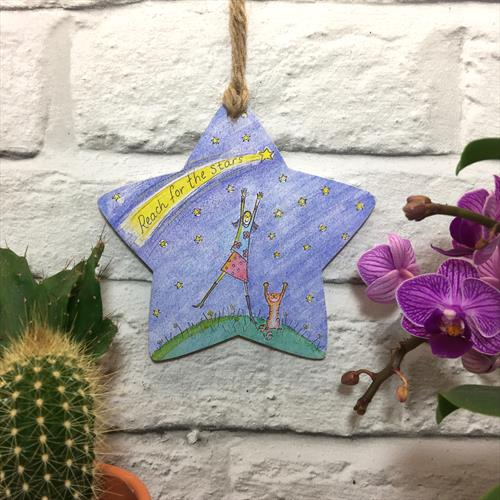 Reach for the Stars glossy vinyl print heart shaped plaque by Lisa-Marie Davies