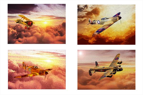 RAF 100th Anniversary Set Of Four Classic Aircraft . by leslie garrett