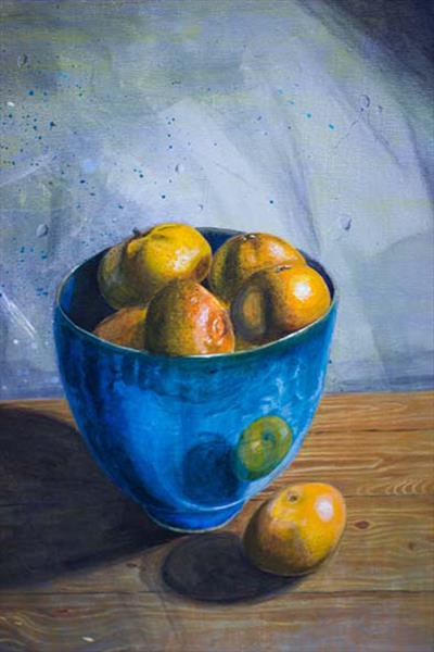 Blue bowl with oranges by Antony Griffiths