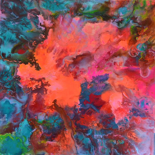 The Forest Song 2 - Abstract Fluid Painting by Soos Tiberiu - Anton