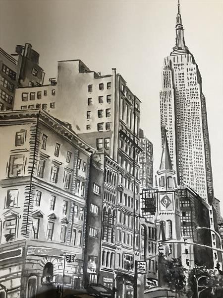 New York City Watercolour Black & White A4 by Matt Dale