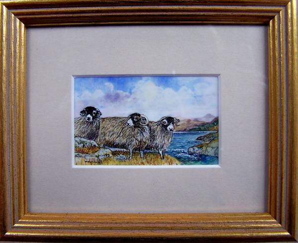 Miniature of Swaledale Sheep by Wendy Sabine
