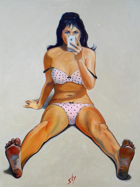 Girl With Iphone (After Thiebaud)