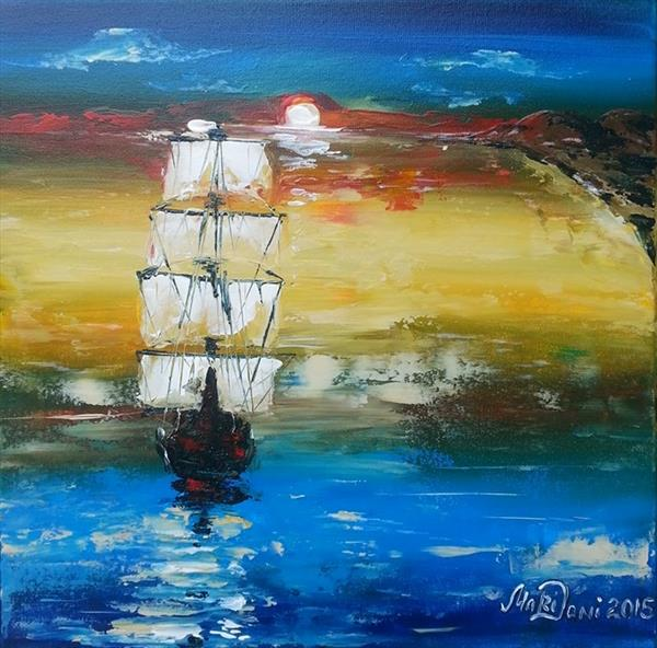Acrylic_Drift at sunset by Marina Daniluka