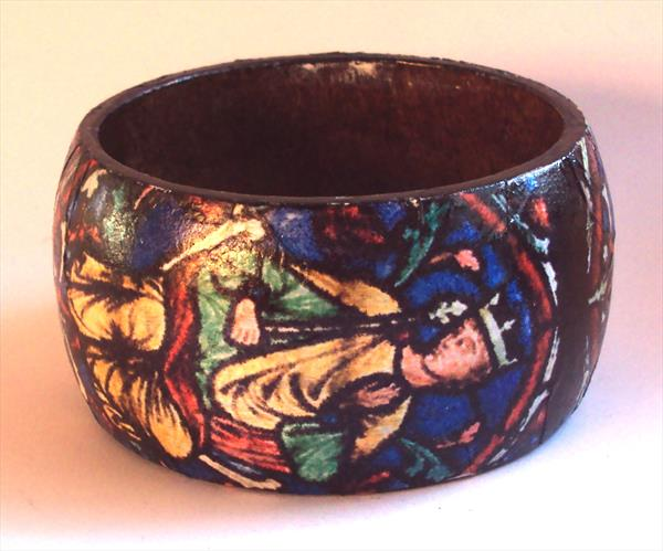 Stained Glass Design Wooden Bangle by Teresa Tanner