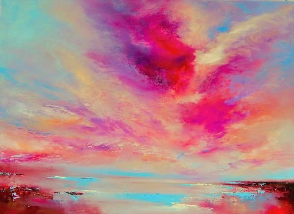 """Skies Ode"" pink, gold, blue abstract painting, 73cm x 54cm"