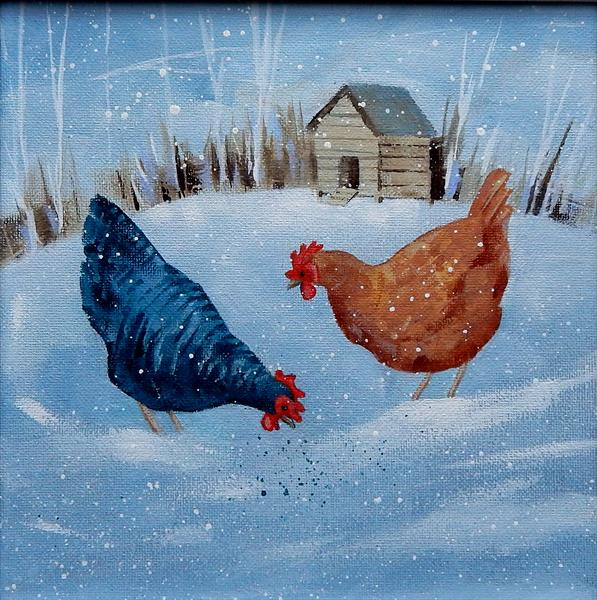 Winter Chickens by Denise Coble