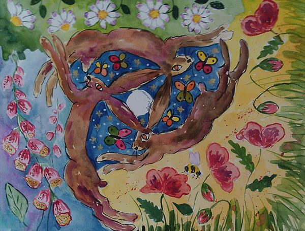 Hares in the Midnight Garden by Casimira Mostyn