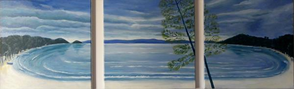 A Piece of Paradise Triptych by Mary Stubberfield