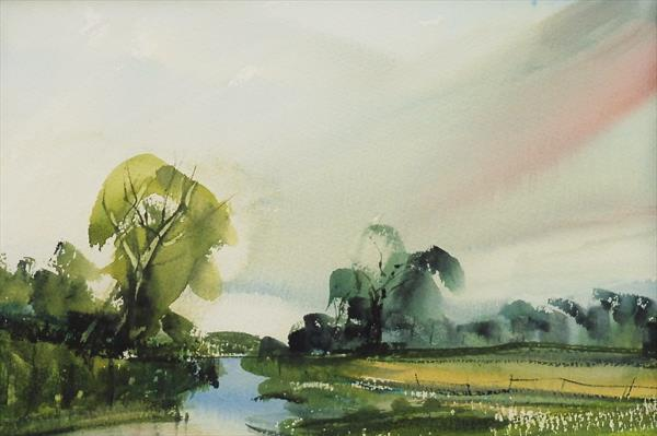 SUMMER MEADOW LANDSCAPE RIVER SEVERN, Worcs. Original Watercolour with mount (mat).  by Tim Taylor