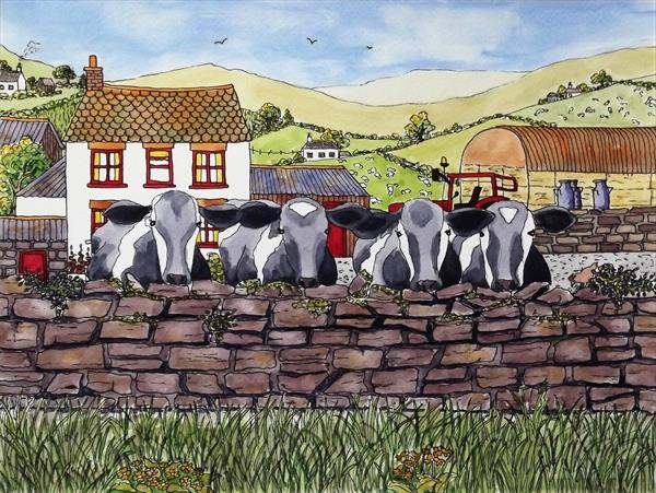 Four Friendly Friesians by Pam Parnell