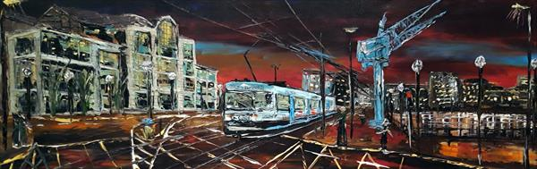 Salford Quays Blue Cranes tram by Night No1 by Andrew Alan Matthews