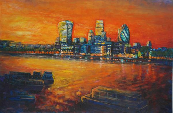 London Skyline New Buildings (Large Painting) by Patricia Clements