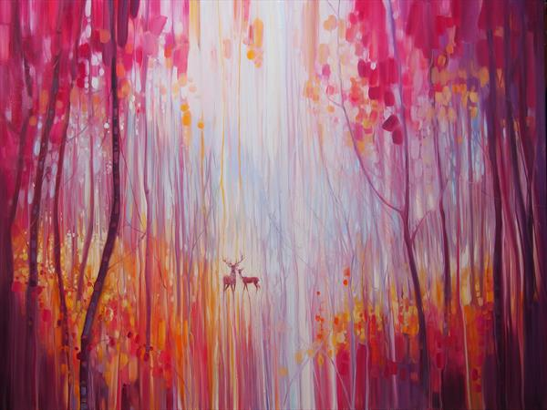 Autumn Monarchs - deer in an autumn wood by Gill Bustamante