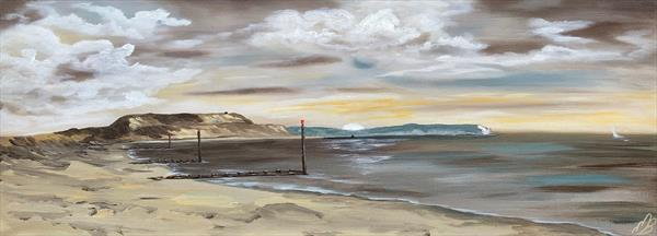 Sunrise over Hengistbury Head on a panoramic canvas