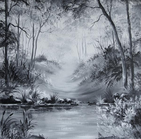 Forest Stream Acrylic on Box Canvas by Pamela J West