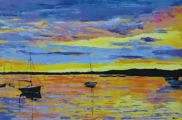 Brancaster Staithe Harbour at sunset by Andrew Snee
