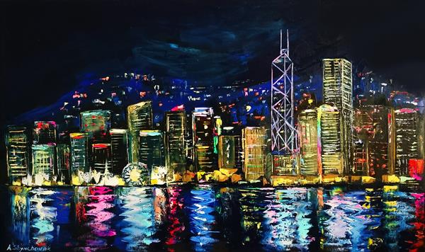 POWERFUL HONG KONG; ORIGINAL PALETTE KNIFE OIL PAINTING ON CANVAS by Alena Shymchonak