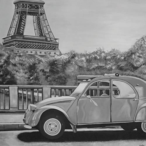 Paris Canvas Painting Black and White City Scene 1m x 1m by Matt Dale