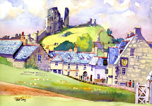 Corfe Castle & Village, Dorset. National Trust Ruin by Peter Day