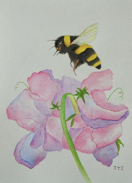 Bumblebee and Sweetpeas