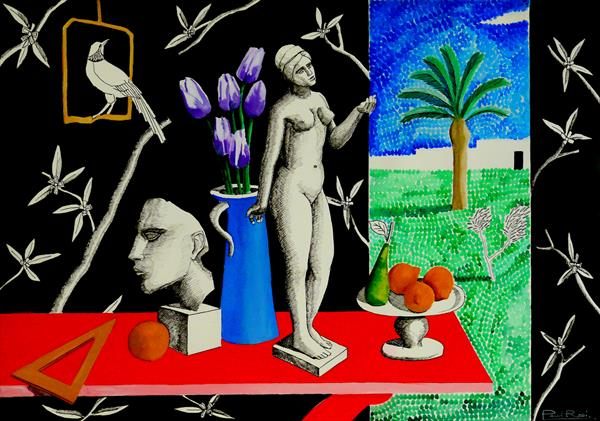 Still-Life With View Of Pointilist Garden by Paul Rossi