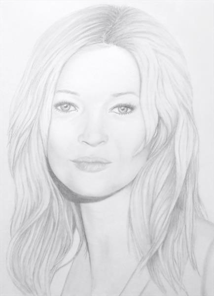 'Kate Moss' Original Portrait Drawing by Patricia Unwin