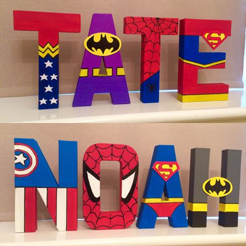 Superhero Marvel children's letters by Tracy Jolly