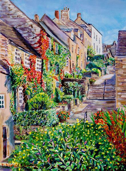 SUMMER - LOOKING UP THE CHIPPING STEPS, TETBURY by Diana Aungier - Rose