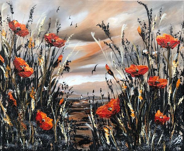 Orange poppies against an orange sky by Marja Brown