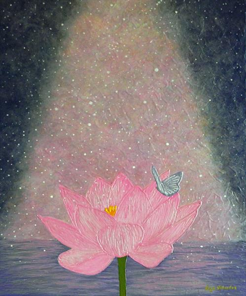 Lotus Power - abstract pink lotus flower painting by Liza Wheeler