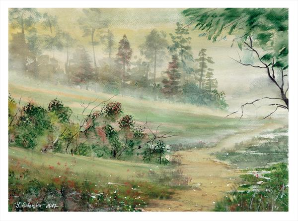 The end of the summer. Watercolour landscape paintings by Yulia Schuster