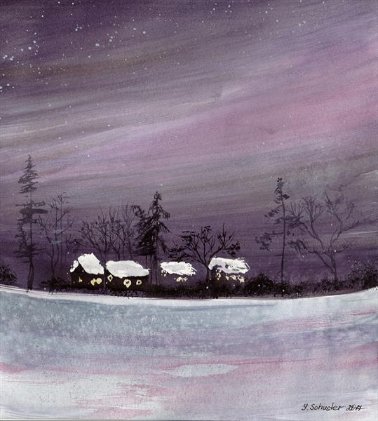 Winter. Watercolour sketch. by Yulia Schuster