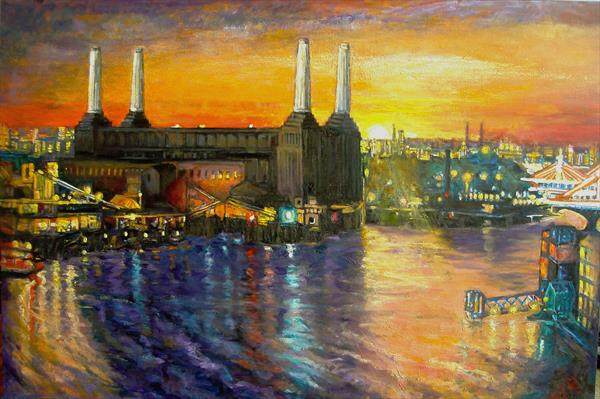 Battersea Power Station Sun Set (Print) by Patricia Clements