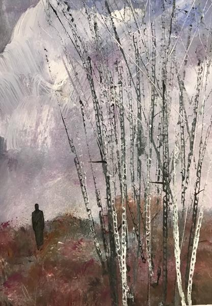 Contemplation - a walk through the pink heather  by Sarah Gill