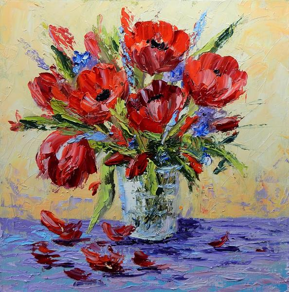 Red flowers in a vase. Impasto, palette knife. by Vita Schagen