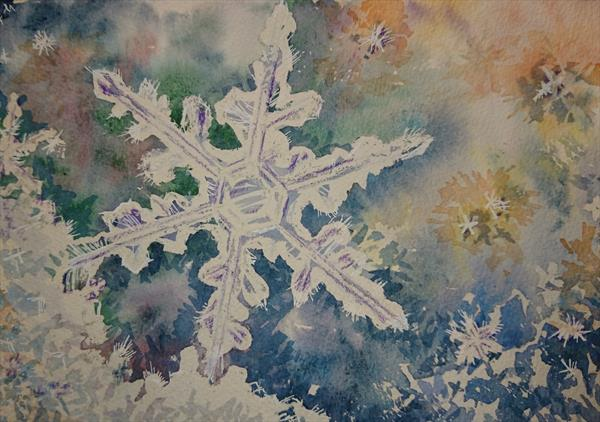 Snowflake winter Christmas snow Watercolour Artist paper Winsor & Newton A4 by Elena Haines