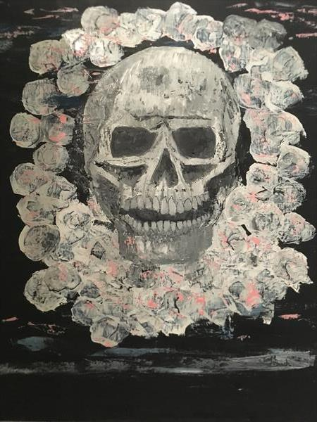 Skull and roses  by Jayne  Deach