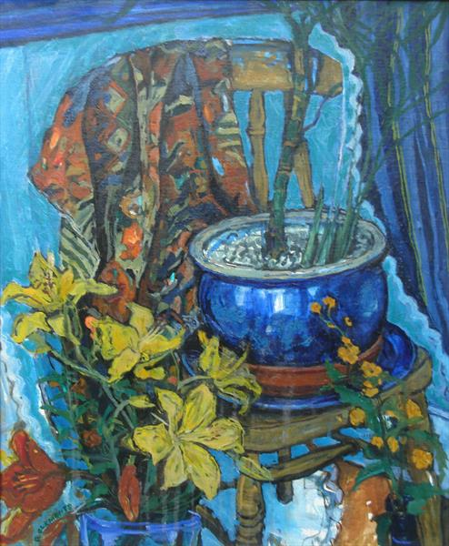 Still life with blue pot by Patricia Clements