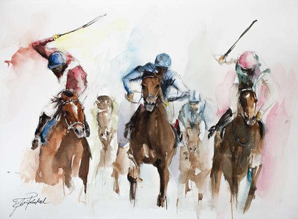 Newbury Horse Racing by Tomasz Mikutel