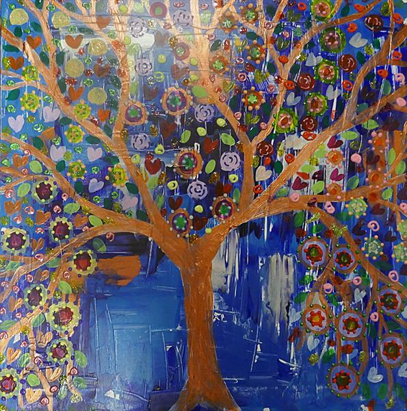 A colourful Blue and Copper Tree full of Hearts by Casimira Mostyn