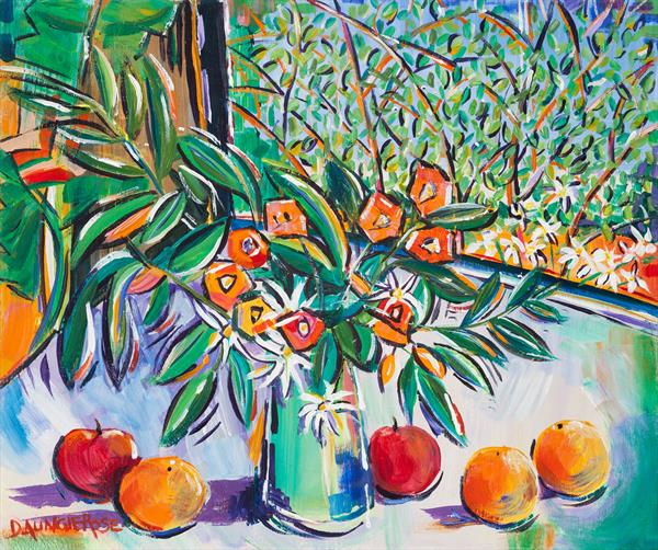 STILL LIFE WITH SUMMER FLOWERS, APPLES AND ORANGES by Diana Aungier - Rose