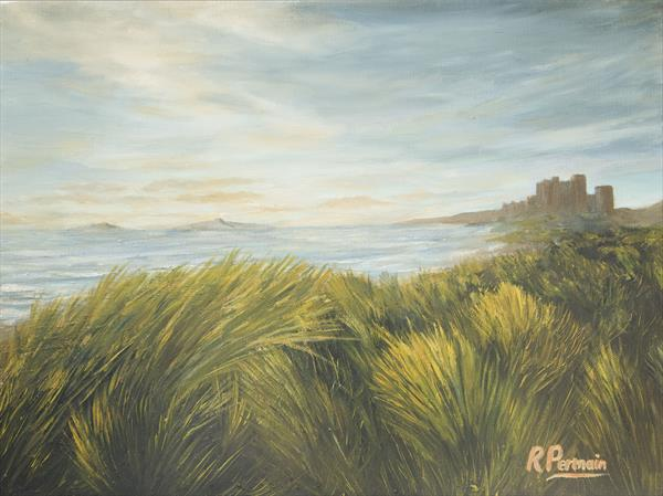 Bamburgh Castle over the Dunes by Robert Permain