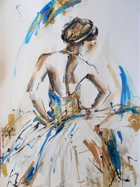 Ballerina Ink Drawing on Paper-Ballerina Series Ink Drawings by Antigoni Tziora