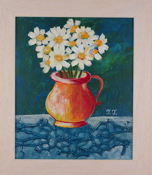 Daisies and Red Mug by Teodora Totorean