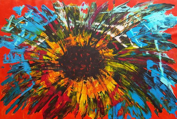 Before you open your eyes - XXL floral abstract painting by Ivana Olbricht